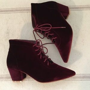 NWT Sundance Catalog Red Velvet Granny booties